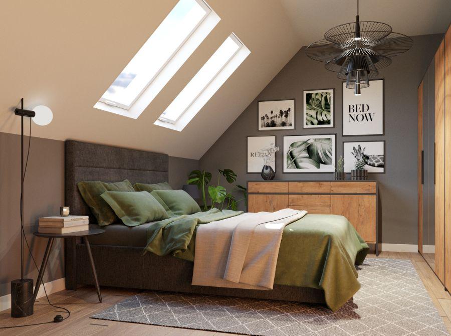 przytulna sypialnia na poddaszu aranżacje